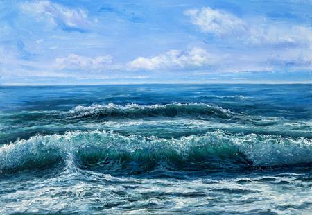 Origineel olieverfschilderij dat golven in oceaan of overzees op canvas toont. Modern impressionisme, modernisme, marinisme