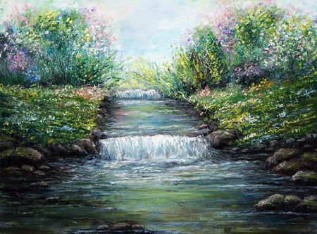 Original oil painting showing spring river and flowers on canvas. Modern Impressionism, modernism,marinism Stock fotó