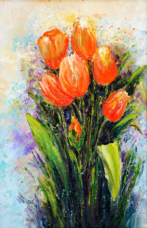 perennial: Original oil painting showing orange tulip flowers bouquet. Genus of perennial, bulbous plants in the lily family .Modern Impressionism, modernism,marinism Stock Photo
