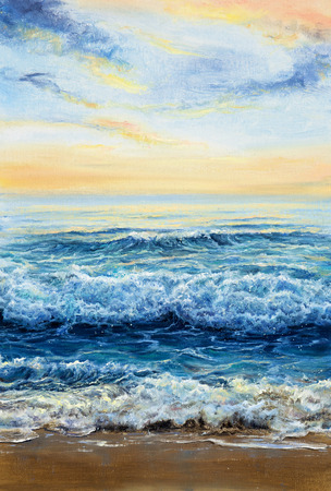 Original oil painting showing waves in  ocean or sea on canvas. Modern Impressionism, modernism,marinism  Stock Photo