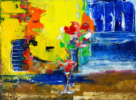 Abstract painting of cocktail and flowers on canvas.Modern Impressionism, modernism,marinism