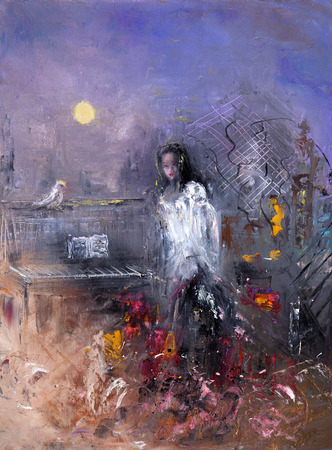 Abstract painting of woman at night on canvas.Modern Impressionism, modernism,marinism