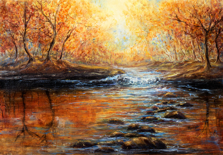 Original  oil painting of beautiful autumn forest and river  on canvas.Modern Impressionism, modernism,marinism  Stock Photo