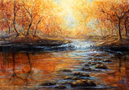 Origineel olieverfschilderij van prachtige herfstbossen rivier op doek. Modern impressionisme, modernisme, marinisme