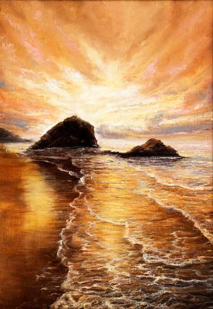 Pintura al óleo original de la hermosa puesta de sol dorada sobre la playa del océano en lienzo. Impresionismo moderno, modernismo, marinismo Foto de archivo