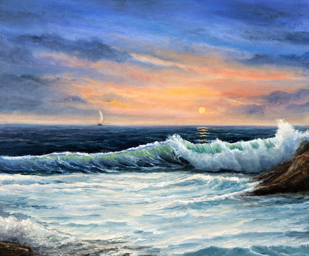 Original  oil painting of beautiful golden sunset over ocean beach on canvas.Modern Impressionism, modernism,marinism