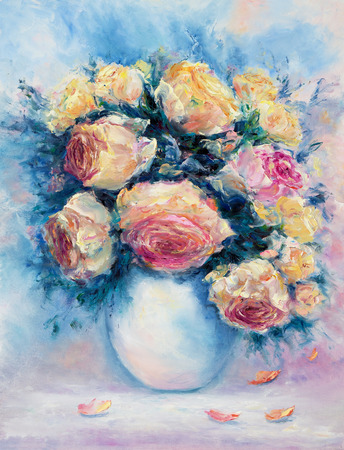 Original  oil painting of beautiful vase or bowl of fresh roses  on canvas.Modern Impressionism, modernism,marinism