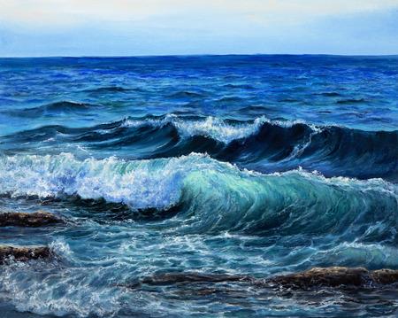 Ursprüngliches Ölgemälde, das Wellen im Ozean oder im Meer auf Segeltuch zeigt. Moderner Impressionismus, Modernismus, Marinismus Standard-Bild - 92933972