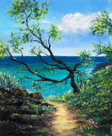 Original oil painting of path to the ocean shore and tree  on canvas.Modern Impressionism 스톡 콘텐츠
