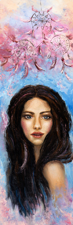 Abstract painting of a woman on canvas.Modern Impressionism, modernism,marinism