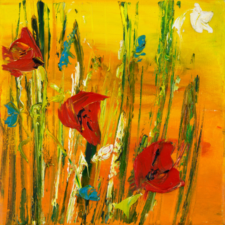 Original oil painting of Opium poppy( Papaver somniferum) and yellow field on canvas.Modern Impressionism Stock fotó - 100154488