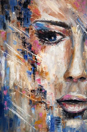 Abstrakte Malerei eines Frauengesichtes auf Leinwand. Moderner Impressionismus, Modernismus, Marinismus