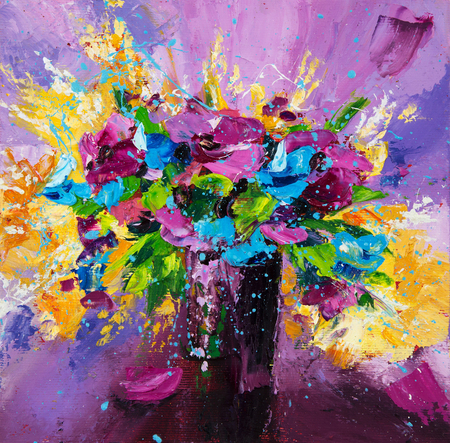 Original  oil painting of beautiful vase or bowl of fresh lavender    flowers.  on canvas.Modern Impressionism, modernism,marinism  Stock fotó