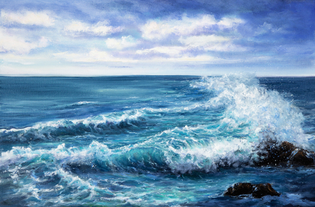 Original oil painting showing waves in  ocean or sea on canvas. Modern Impressionism, modernism,marinism  스톡 콘텐츠