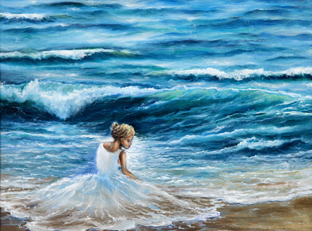 Original oil painting showing waves in  ocean or sea on canvas.Woman in white dress on the beach. Modern Impressionism, modernism,marinism Stockfoto