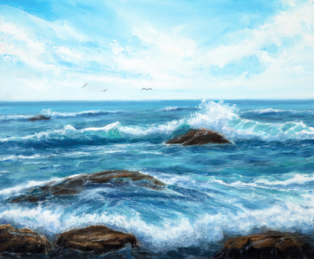 Original oil painting showing waves in  ocean or sea on canvas. Modern Impressionism, modernism,marinism Stockfoto