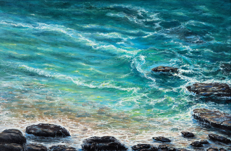 Original oil painting showing waves in  ocean or sea on canvas. Modern Impressionism, modernism,marinism Stock fotó - 122215507
