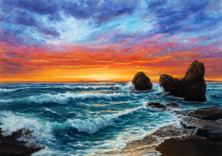 Original  oil painting of beautiful golden sunset over ocean beach on canvas.Modern Impressionism, modernism,marinism Stock fotó - 122215508