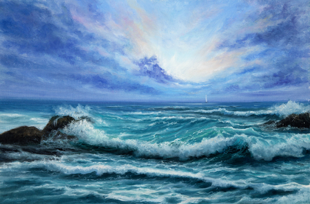 Original oil painting showing waves in  ocean or sea on canvas. Modern Impressionism, modernism,marinism Stock fotó - 122215509