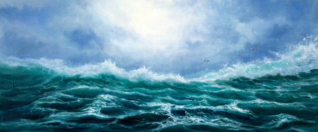 Original oil painting showing waves in  ocean or sea on canvas. Modern Impressionism, modernism,marinism Stock fotó - 122215511
