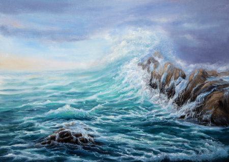 Original oil painting showing waves in  ocean or sea on canvas. Modern Impressionism, modernism,marinism  Stock fotó