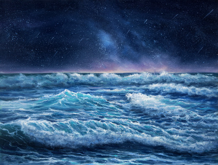 Original oil painting showing waves in  ocean or sea and night sky on canvas.Night scene with stars. Modern Impressionism, modernism,marinism