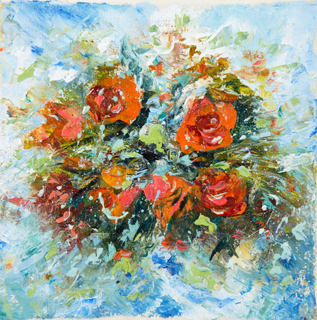 Original oil painting showing fresh flowers bouquet on canvas.Modern Impressionism, modernism,marinism