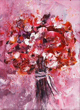 Original oil painting showing fresh flowers bouquet on canvas.Modern Impressionism, modernism,marinism Stock fotó - 122215520
