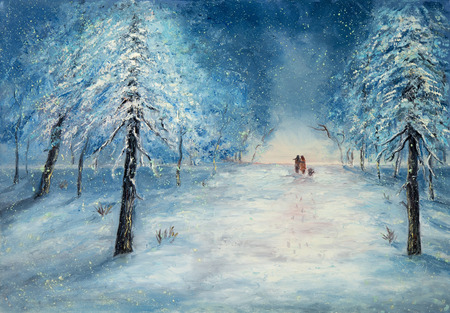 Original oil painting showing couple in love walking in park on canvas.Night winter scene. Modern Impressionism, modernism,marinism Stock fotó - 122215522