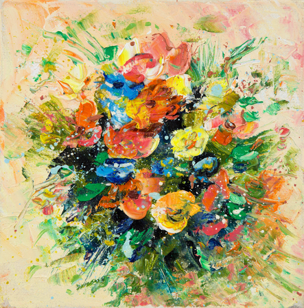 Original oil painting showing fresh flowers bouquet on canvas.Modern Impressionism, modernism,marinism Stock fotó - 122215523