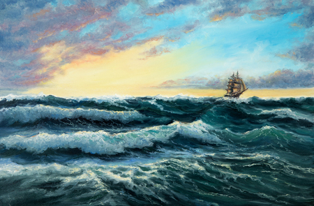 Original oil painting showing  ship   in  stormy ocean or sea on canvas. Modern Impressionism, modernism,marinism