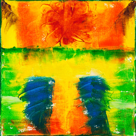 Original abstract oil painting on canvas.Multi colored wallpaper. Modern art concept. Contemporary project  Stockfoto