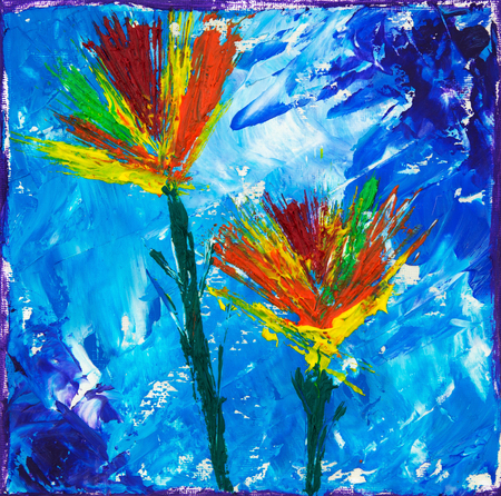 Original oil painting on canvas showing colorful abstract flowers on blue background