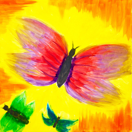 Original oil painting on canvas showing colorful abstract butterflies in front of golden sunset Stockfoto