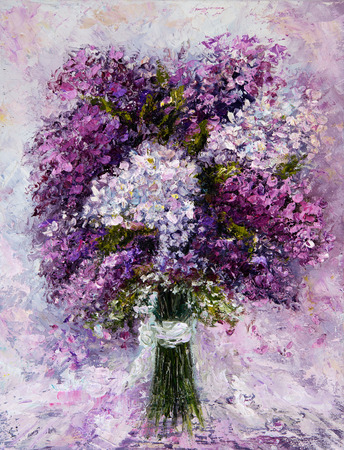 Original oil painting showing fresh pink,purple and white hyacinth flowers bouquet on canvas.Modern Impressionism, modernism,marinism