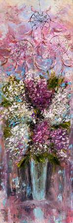 Original oil painting showing fresh pink,purple and white hyacinth flowers bouquet on canvas.Modern Impressionism, modernism,marinism Stock fotó - 122215545
