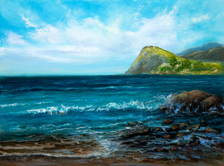 Original oil painting of  Ocean and cliffs on canvas.Modern Impressionism Stock fotó - 122215546