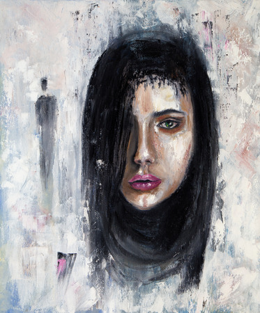 Abstract painting of a woman face  on canvas.Modern Impressionism, modernism,marinism Stock fotó - 122215549