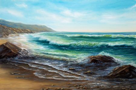 Dipinto ad olio originale di Oceano e scogliere su tela. Impressionismo moderno