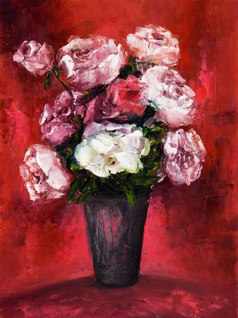Original oil painting showing fresh flowers bouquet on canvas.Modern Impressionism, modernism,marinism Stock fotó - 122215563