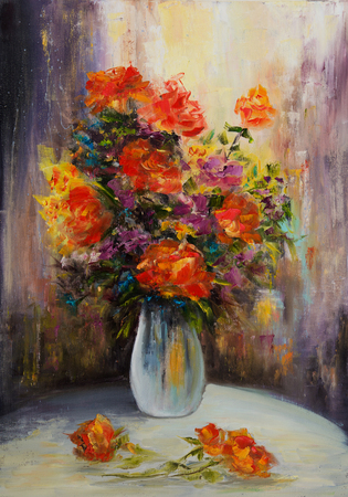 Original oil painting showing fresh flowers bouquet on canvas.Modern Impressionism, modernism,marinism Stock fotó - 122215565