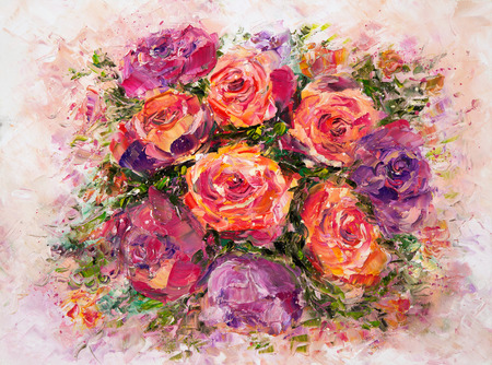 Original oil painting showing fresh flowers bouquet on canvas.Modern Impressionism, modernism,marinism Stock fotó - 122215569