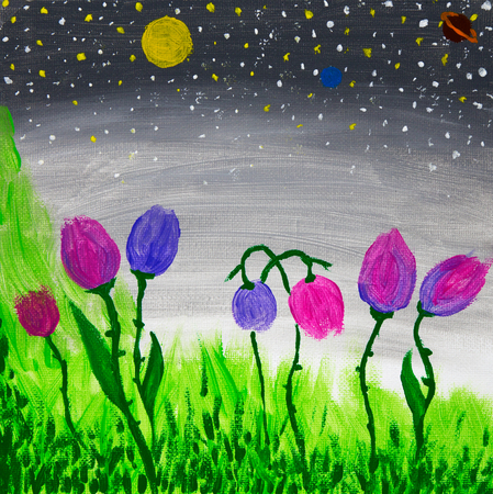 Original oil painting on canvas showing colorful abstract flowers.Conterporary landscape
