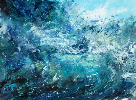 Original abstract oil painting showing waves in  ocean or sea on canvas. Modern Impressionism, modernism,marinism Stockfoto