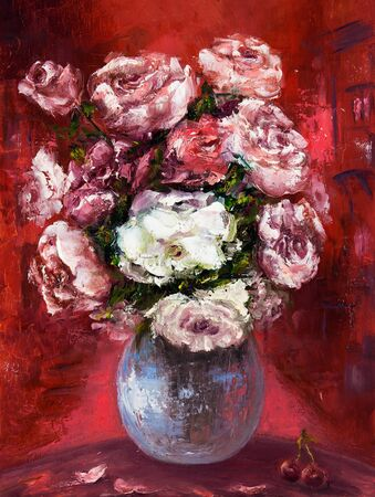 Original oil painting showing fresh flowers bouquet on canvas.Red background.