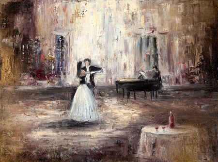 Abstract painting of couple dancing tango or waltz on live piano music  on canvas.Modern Impressionism Stock fotó - 127438697