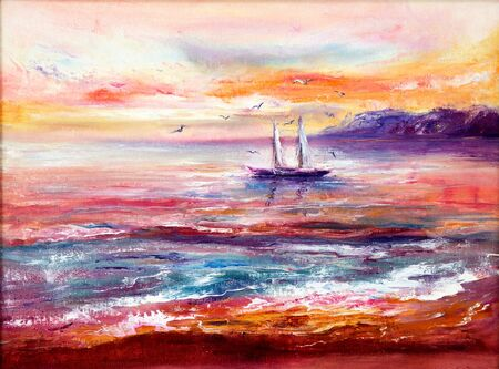 Original abstract oil painting of fishing boat    and sea on canvas.Rich Golden  and purple Sunset over ocean.