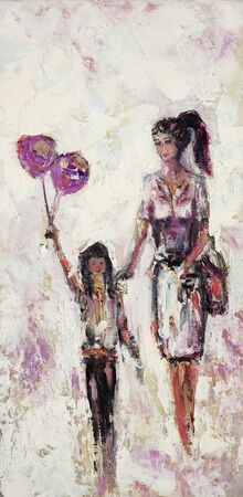 Original oil painting of mother and daughter walking on canvas.Happy child holding balloons.Modern Impressionism