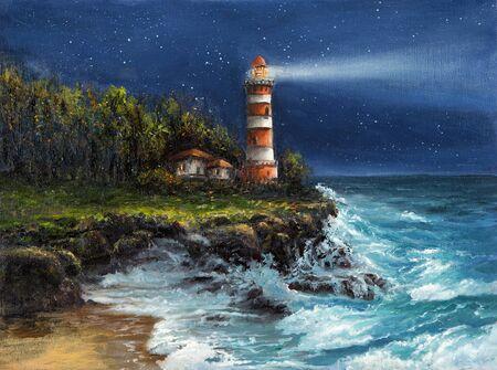 Original Ölgemälde von Leuchtturm und Klippen in der Nacht auf Leinwand. Himmel voller Sterne über dem Ozean. Moderner Impressionismus