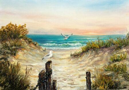 Dipinto ad olio originale delle dune della spiaggia dell'oceano con gabbiani su tela. Impressionismo moderno, modernismo, marinesmo